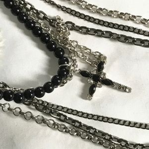 5 silver & black chains with cross necklace